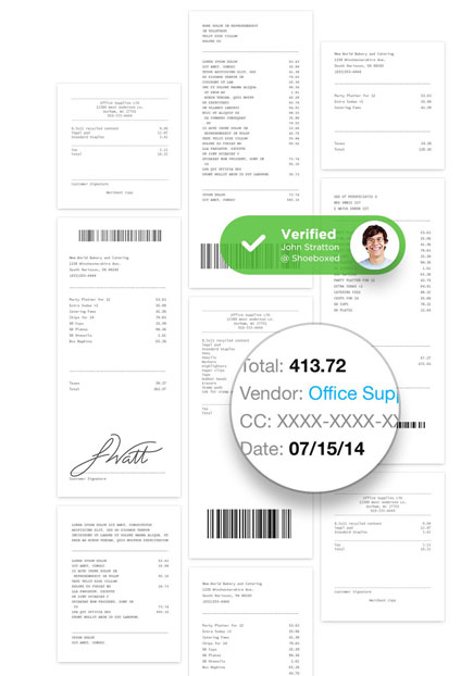 receipts, scanned, organized, and verified