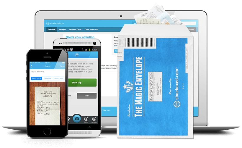 Shoeboxed web, mobile, and envelopes