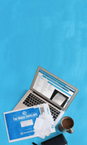 Shoeboxed Coffee Blue Laptop Receipts Paperwork